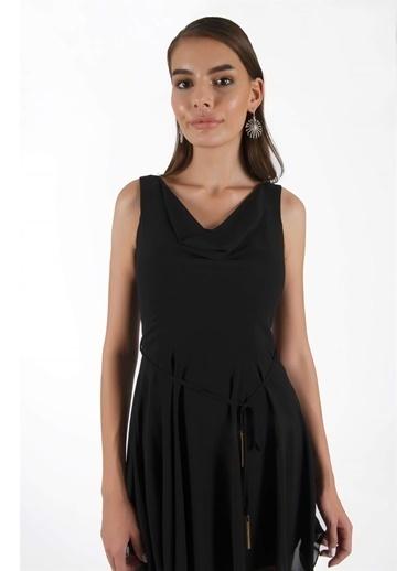 Carmen Carmen Siyah Degaje Yaka Kısa Abiye Elbise Siyah
